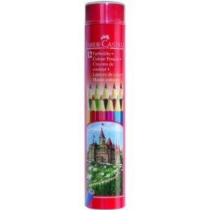 Faber-Castell Tube en métal de 12 crayons de couleur