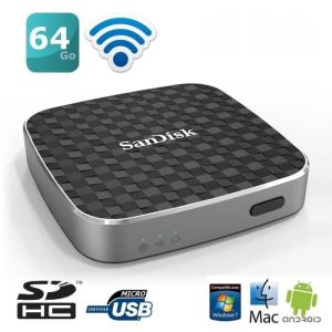 Sandisk SDWS1-064G - Wireless Media Drive 64 Go USB 2.0 WiFi