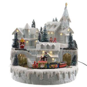 Lumineo Village animé sous la neige / train père noël polyrésine avec LED