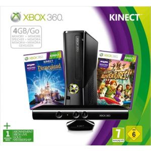 Microsoft Xbox 360 Slim 4 Go + Kinect Adventures +  Disneyland Adventures (Jeux compatibles Kinect)