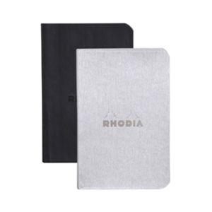 Rhodia 117201C Rhodiarama argent/noir - Lot de 2 carnets souples format 7 x 10,5 cm, 64 pages