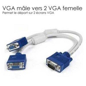 Câble répartiteur d'écran VGA vers 2 connecteurs femelle