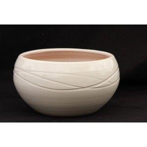 Clair de Terre Ariane - Poterie en terre cuite émaillée forme pot rond Ø30 x 19 cm