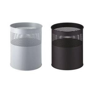 Helit Corbeille à papier en acier percée de trous (15 L)