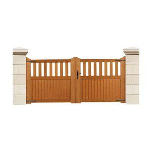Bonnet Stores 558_B035847 - Portail battant Persienne en bois exotique (3 x 1.4 m)