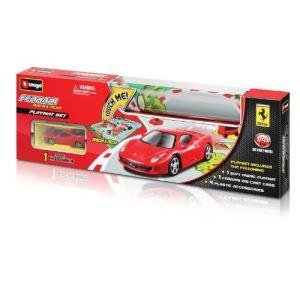 Bburago 31235 - Tapis de jeu circuit de voitures Ferrari avec 1 voiture