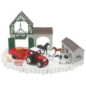 New Ray 05725 - Coffret ferme avec bâtiments tracteur et accessoires
