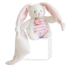 Babynat Doudou Les Tendres : Lapin rayure rose avec mouchoir