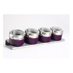 JJA Set 4 pots à épices sur support magnétique