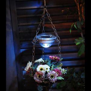 Galix Lanterne suspendue solaire avec support pour fleurs