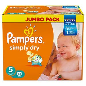 Pampers Simply Dry taille 5 Junior (11-25 kg) - Jumbo Pack 66 x 2 couches