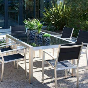 DCB Garden Table de jardin rectangulaire Pacific en aluminium et plateau en verre 220 x 100 x 73 cm