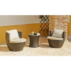 Hévéa Brisol 60/2+2C - Salon de jardin 2 places avec coussin