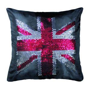 Housse de coussin sequins British Flag