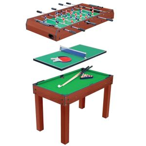 Table multi jeux 3 en 1 : billard, ping pong et baby foot