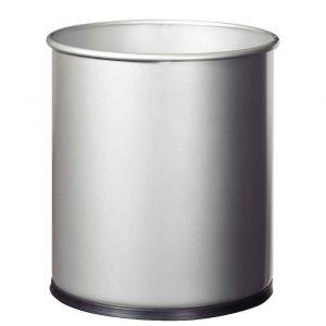 Corbeille à papier métal gris 15l
