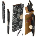 Etui Housse Coque Elégant Portefeuille A Strass + Stylet Samsung Galaxy S7 Noir Ceka ® - Neuf