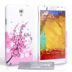 Yousave Accessories Coque Samsung Galaxy Note 3 Neo Etui Rose / Blanc Silicone Gel Floraux Abeille Housse - Neuf