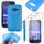 Ebeststar ® Housse Etui Coque Silicone Gel Motif S-Line Protection Souple Pour Samsung Galaxy Trend 2 Lite Sm-G318h, Galaxy V Plus, Couleur Bleu + Stylet 3 Film - Neuf