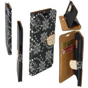 Etui Housse Coque Elégant Portefeuille A Strass Samsung Galaxy S7 Edge Noir Ceka ® - Neuf