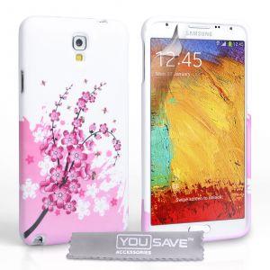 Yousave Accessories Coque Samsung Galaxy Note 3 Neo Etui Rose / Blanc Silicone Gel Floraux Abeille Housse - Neuf