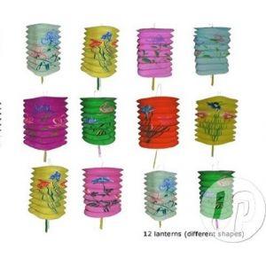 Lot De 12 Lampions Cylindrique Motifs Chinois-Fête Du Têt-Carnaval-16x28cm Mix - Neuf