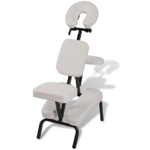 Vidaxl Chaise De Massage Pliante Et Portable Blanc - Neuf