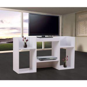 Meuble Tv / Étagère, 6 Niches, 109x30x59cm, Blanc - Neuf