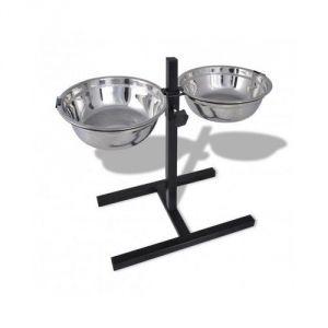 Support réglable avec 2 bols de 1,6 L pour chien - Neuf
