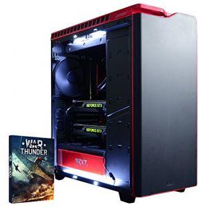 VIBOX Legend 8Gaming PC avec jeu War Thunder, 4.4GHz Intel i7Quad Core Processeur, 2x Nvidia Geforce GTX 980Ti SLI Carte graphique, 240Go SSD, 3TB HDD, 32Go RAM, case NZXT H440, noir/rouge ( Neuf )