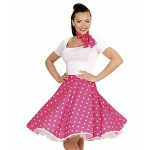 Jupe et foulard roses à pois années 50 femme - Taille Unique ( Neuf )