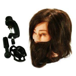 100% Professionnel Tête à Coiffer Long Brun Vrais Cheveux Coiffure Mannequin w/ barbe + Étau ( Neuf Marketplace )