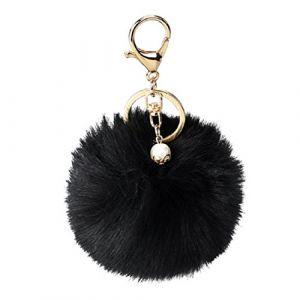 Porte-clés/Trousseau, Malloom clé de voiture en peluche de lapin boule de fourrure sac de porte-clés clé de voiture de pendentif anneau (Noir) ( Neuf Marketplace )