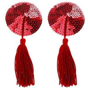 WingsLove Femme Cache Tétons Paillettes et à Pompons Nipple Cover Sequin Tassel Cache-tétons ( Neuf Marketplace )