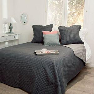 Ensemble Dessus de lit matelassé avec ses 2 Housses de coussin - Doux et chaleureux - Grande taille - Bicolore (Gris souris/Beige) ( Neuf Marketplace )