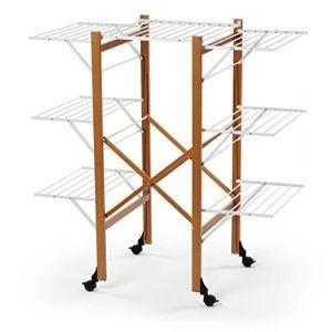 Arredamenti Italia AR_IT- 602 ACQUILONE Etendoir Extensible Pliable Hêtre Massif couleur cerise 137 x 132 x 68 cm avec surface de séchage de 25 mètres ( Neuf )