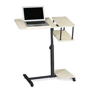 Relaxdays Table ordinateur portable hauteur réglable XL HxlxP: 100 x 77 x 40 cm bois support laptop netbook avec 4 roulettes blocables tablette surface pour souris antidérapant table d'appoint, crème ( Neuf )