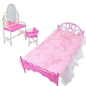 Ensemble table & chaise d'habillage rose pour poupées Barbies ameublement de chambre ( Neuf Marketplace )