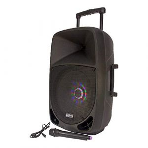 "SONO ENCEINTE MOBILE PORTABLE 15"" 800W KARAOKE EFFETS LUMINEUX LED INTÉGRÉS BLUETOOTH USB FM MICRO VHF DJ LIGHT ( Neuf Marketplace )"
