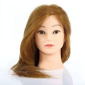 CoastaCloud Tête d'apprentissage Tête à Coiffer La Formation Cosmétologie Mannequin Head 56cm 80% Vrais Cheveux ( Neuf Marketplace )