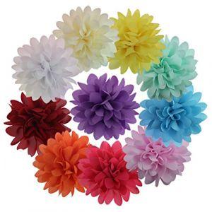 10Pièces/Lot Pince à Cheveux avec Fleur à Ruban Clips Cheveux Barettes Pour Fille Fillette ( Neuf Marketplace )