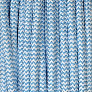 Câble électrique textile - Fil électrique tissu zébré bleu et blanc ( Neuf Marketplace )
