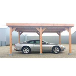 Abri à toit plat pour voiture Ile-de- France en bois Douglas CPBF