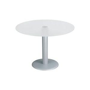 Table ronde de réunion blanche pieds aluminium Next