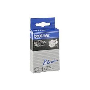 Ruban titreuse laminé Brother TC201 12 mm - blanc écriture noire. Longueur 7,7 m