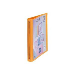 Classeur 4 anneaux  plastique Viquel A4 personnalisable dos 3,5 cm orange translucide