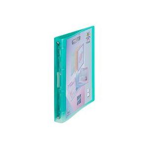Classeur 4 anneaux  plastique Viquel A4 personnalisable dos 3,5 cm vert translucide