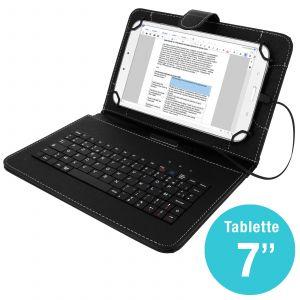 Etui folio Tablette 8 pouces - Étui avec clavier AZERTY integré - Noir pour Tablette 8 pouces