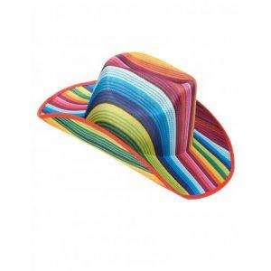 Chapeau cowboy multicolore rayé adulte Taille Unique