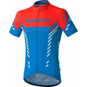 Shimano Print - Maillot homme - rouge/bleu XXL Maillots manches courtes sport